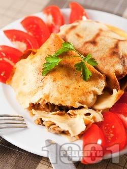 Сaрми от палачинки и плънка от ориз с гъби печени на фурна - снимка на рецептата